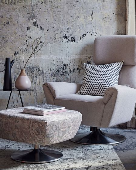 Design 1703 Swivel Tilt Chair, in Speckle Blush, £1,274; Footstool in Pixel Blush, £528, Parker Knol