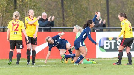 Tottenham Hotspur Ladies Lucia Leon celebrates after finding the net against Watford (pic: Andrew Wa