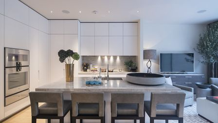 The Boffi kitchen featuring natural stone worktops and Gaggenau and Miele appliances