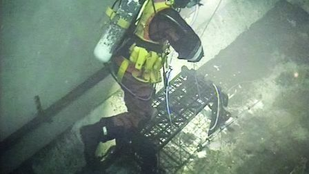 One of the American divers working in the pond at Sizewell A. Picture: MAGNOX