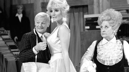 """Actress Candy Davis gets the """"Are You Being Served"""" treatment from John Inman"""