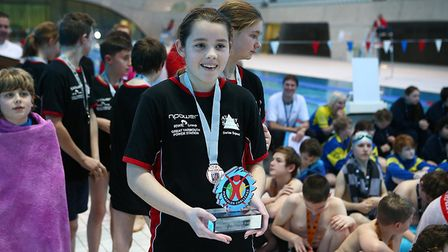 Mia Allbright holds the trophy. Pictures: Courtesy of Panathlon