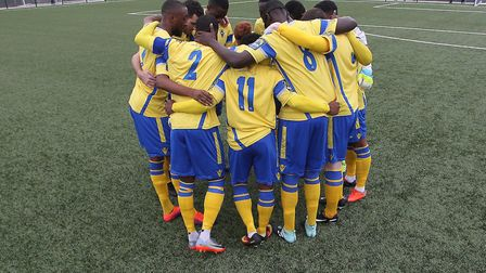 Haringey Borough have a group huddle before the game (pic: George Phillipou/TGS Photo).