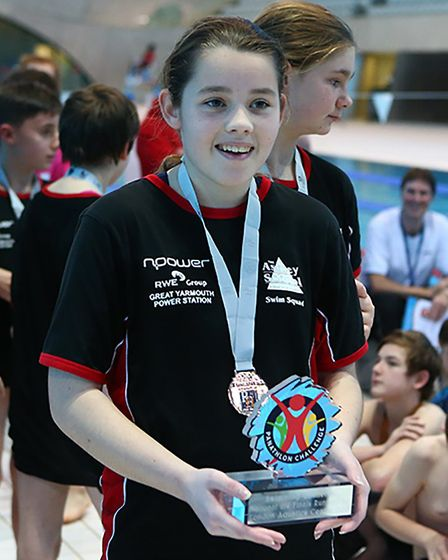 Mia Allbright with the trophy. Pictures: Courtesy of Panathlon