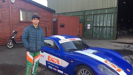 Brandon Abraham with one of the cars he drove at the Ginetta scholarship event