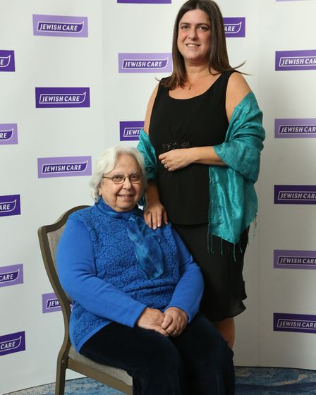 Mavis Hyman with her daughter Esther at Jewish Care's Topland Business Luncheon award ceremony earli
