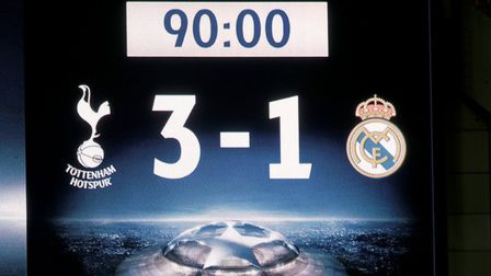 A general view of the scoreboard at full time during the UEFA Champions League Group H match between
