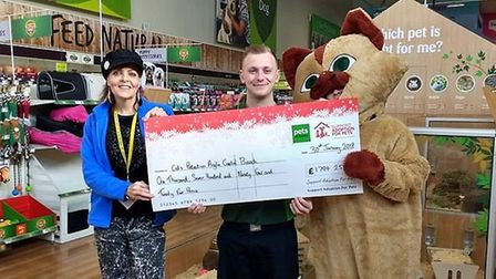 Cats Protection Anglia Coastal received £1,794.25 from Lowestoft's Pets at Home store. Photo: Cats P