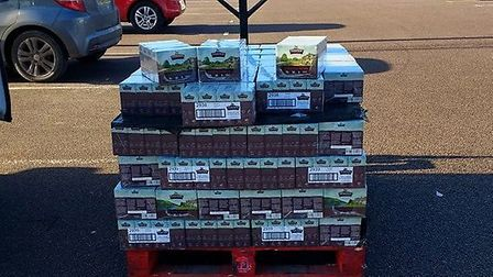 Cats Protection Anglia Coastal also received a pallet of cat food. Photo: Cats Protection.