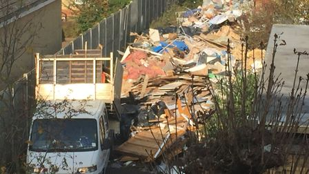 Tonnes of rubbish have been dumped at the site in Muswell Hill