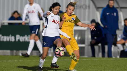 Tottenham Hotspur Ladies' Maya Vio in action against Brighton & Hove Albion (pic: wusphotography.com
