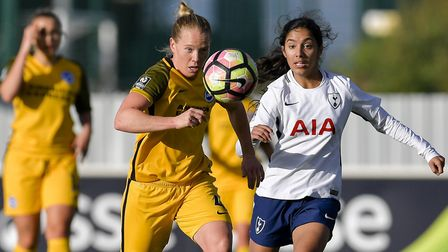 Tottenham Hotspur Ladies' Maya Vio looks to get the ball back against Brighton & Hove Albion (pic: w