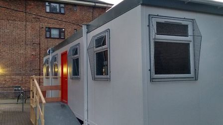 Guinness's 'Information Hub', which is sat empty on the estate. Picture: Emily Jost