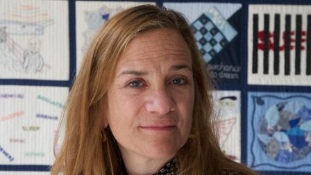 Tracy Chevalier with the sleep quilt
