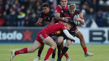 Ali Crossdale of Saracens is tackled during the Anglo-Welsh Cup tie against Harlequins (pic: David D