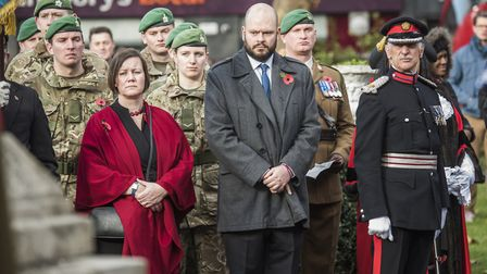 Mayor Phil Glanville and MP Meg Hillier at the service. Picture: Sean Pollock/Hackney Council