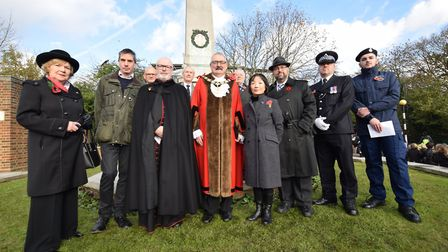 Religious and community leaders at the Whitestone Pond War Memorial on Armistace Day November 10 201