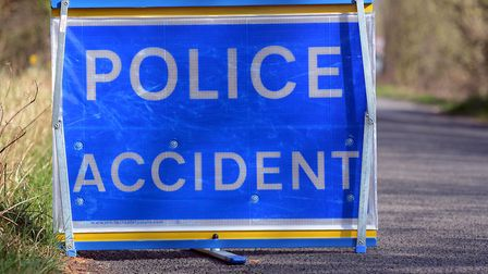 Motorists remain in hospital after crash on B1149. Accident sign. Picture: Matthew Usher.
