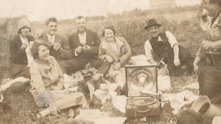 Leigh Piercy's grandparents having a picnic on Millfields c 1920s