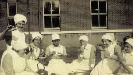 Midwives from the Mothers' Hospital having a picnic