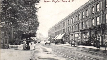 A post card looking south along Lower Clapton Road by the Round Chapel c.1905