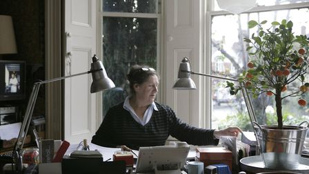 Annemarie working at the guesthouse