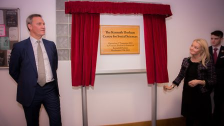 The unveiling of the plaque to mark the opening of the new Kenneth Durham Social Sciences Centre at
