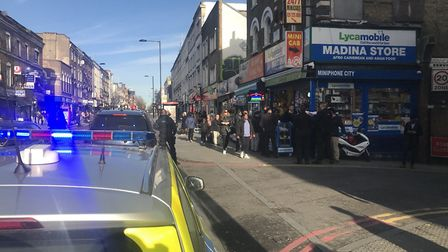 Police were called to Kingsland High Street just after 11.30am yesterday. Picture: Samir Jeraj