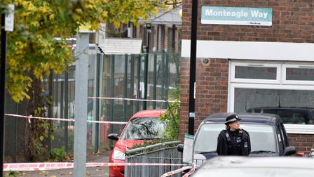 Police cordon off Monteagle Way where the man was fatally stabbed. Picture: Polly Hancock