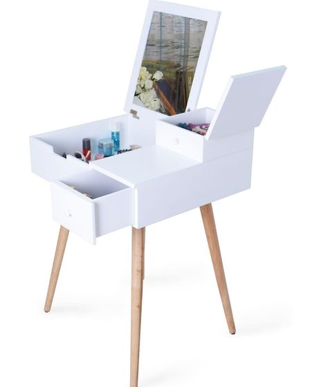 Dressing Table with Mirror, White, Sue Ryder