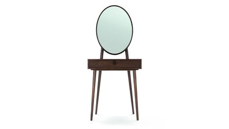 Penn Dressing Table with Mirror in Dark Stain Ash, Made