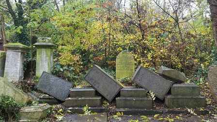 Toppled gravestones in Abney Park Cemetery. Picture: WILL McCALLUM