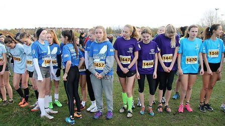 Havering and Hackney girls at the start of the 2017 cross-country race (pic LYG)