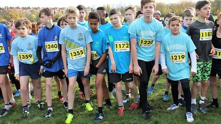 Tower Hamlets and Haringey boys at the start in 2017 (pic LYG)