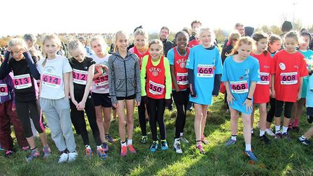 Brent's under-11 girls at the start line in 2017 (pic LYG)