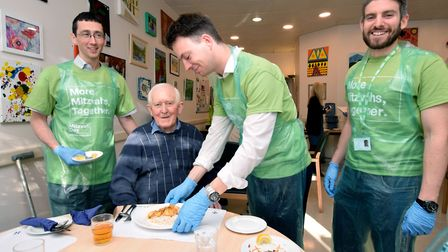 Ham & High team Mitzvah event at St John's Hospice Day Centre where the team served lunch and chatte