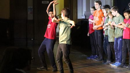 A dance performance by William Ellis School students at the Jack Petchey Foundation achievement awar