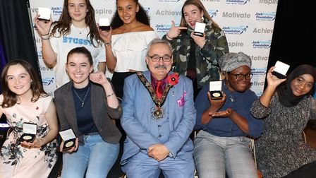 Camden School for Girls award winners with mayor of Camden, Cllr Richard Cotton at the Jack Petchey