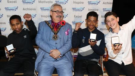 Acland Burghley School award winners with mayor of Camden, Cllr Richard Cotton at the Jack Petchey F