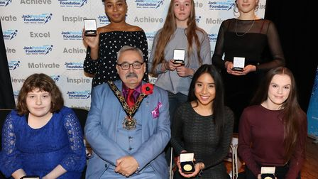 Parliament Hill School award winners with mayor of Camden, Cllr Richard Cotton at the Jack Petchey F