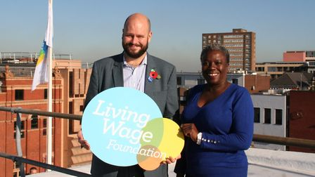 Phil Glanville and Cllr Carole Williams raised the London Living Wage flag at the town hall this wee