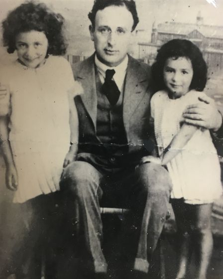 Betty Layward with her sister and father
