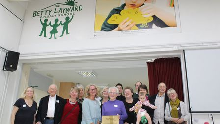 Four generations of Betty Layward's family attend a special assembly at the school named after her t