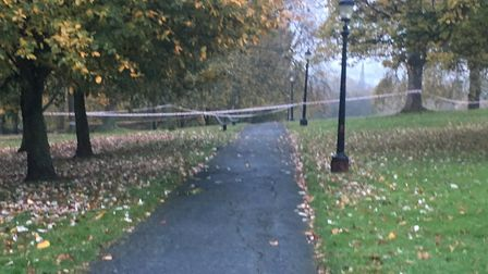 Primrose Hill remains cordoned off this morning after a 16 year old boy was stabbed last night Pictu