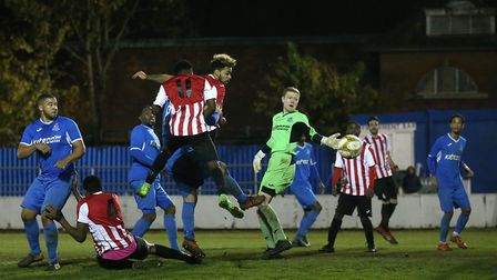 Clapton's Jay Knight goes close to a goal against Redbridge (Pic: Gavin Ellis/TGS Photo)