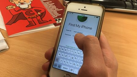 Find My iPhone: A model uses the app that allows users to track their phones if they are lost or sto