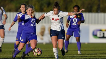 Coral-Jade Haines in action for Tottenham Hotspur Ladies against Doncaster Rovers Belles (pic: wusph