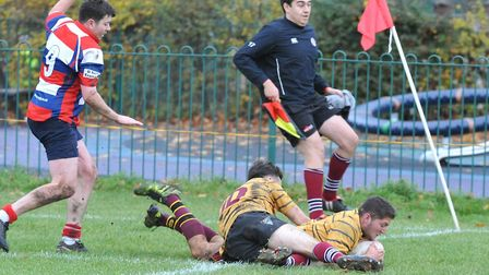 UCS Old Boys score a try at Watford in Herts/Middlesex One (pic: Nick Cook)
