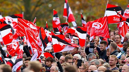 Saracens fans wave flags (pic Nigel French/PA)