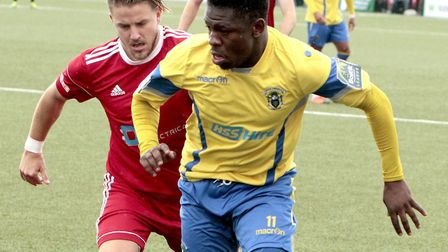 Anthony McDonald in action for Haringey Borough against Bideford in the FA Cup (pic: Tony Gay).